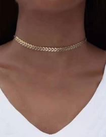 Fashion Gold Gold-plated Fishbone Necklace