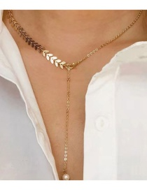 Fashion Gold Fish Bone Imitation Pearl Necklace