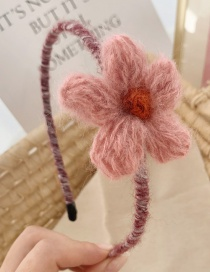 Fashion Pink Flowers Flower Woven Woolen Hair Band