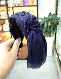 Fashion Navy Blue Knot Wide-brimmed Silk Wrinkle Knotted Headband