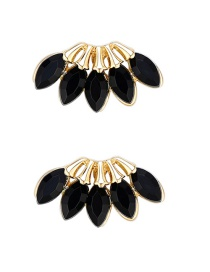 Fashion Black Zircon Leaf Alloy Earrings