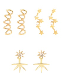 Fashion Gold Water Drop Snowflake Big Dipper Diamond Earrings Combination