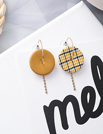 Fashion Yellow Plush Wood Plaid Texture Earrings