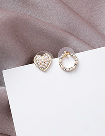 Fashion Gold 925 Silver Needle Asymmetric Pearl Love Small Stud Earrings