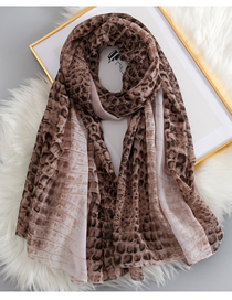 Fashion Brown Snakeskin Leopard Cotton And Linen Scarf