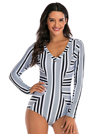 Fashion Black And White Stripes Flower Print One-piece Short-sleeved Surf Suit