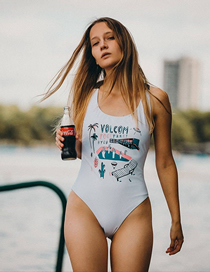 Fashion White Offset Printed Triangle One-piece Swimsuit