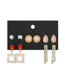 Fashion Gold Diamond Drop Love Pearl Earring Set