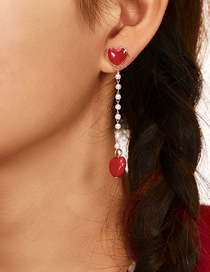 Fashion Red Love Asymmetric Earrings