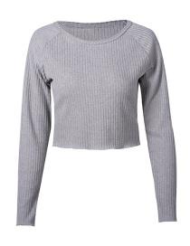 Fashion Gray Long-sleeved Knit Shirt Pit Top