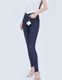 Fashion Navy Blue Solid Color Stretch Pants
