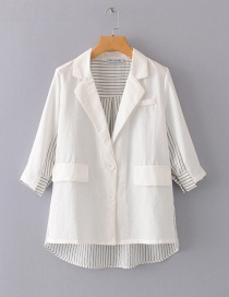 Fashion White Seven-quarter Sleeve Color Matching Suit