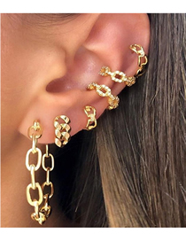 Fashion Gold Metal Thick Chain Earrings Set