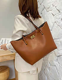 Fashion Brown Embroidered Thread Lock Buckle Backpack