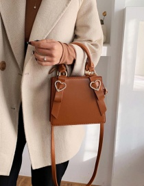 Fashion Brown Heart Bow Bow Shoulder Bag