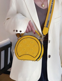 Fashion Yellow Embossed Round Portable Diagonal Shoulder Bag