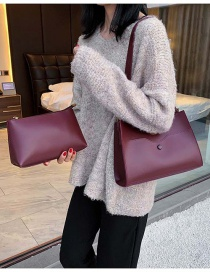 Fashion Red Wine Pu Suction Button Portable Mother Bag