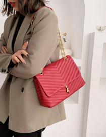 Fashion Red Rhombic Chain Crossbody Shoulder Bag
