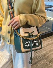 Fashion Green Contrast Color Draw Bandwidth Shoulder Strap Shoulder Messenger Bag