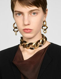 Fashion Brown Imitation Alloy Resin Chain Necklace
