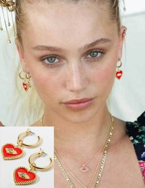 Fashion Red Diamond-plated Earrings With Diamond Eyes