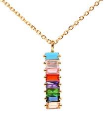 Fashion Gold Long Zircon Diamond Necklace