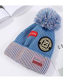 Fashion Sky Blue Plush Wool Cap