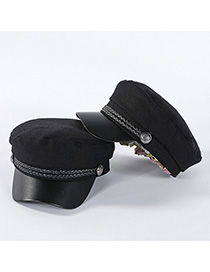 Fashion Black Flat Top Wool Navy Cap