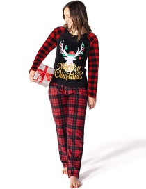 Fashion Loading Fawn Plaid Print Christmas Home Service Suit