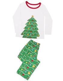 Fashion Male White Christmas Tree Print Home Service Suit