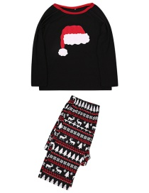 Fashion Male Black Christmas Hat Printing Home Service Suit