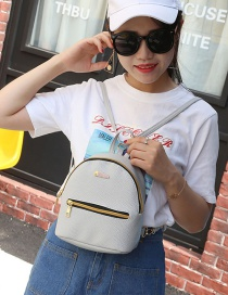 Fashion Gray Contrast Zipper Backpack