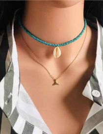 Gold Turquoise Rice Beads Natural Conch Shell Necklace