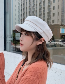 Fashion White Cotton Octagonal Cap