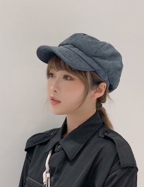 Fashion Denim Blue Solid Color Octagonal Cap