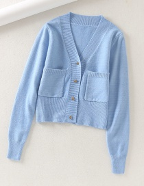 Fashion Blue Furry Pocket Heart Button Sweater Cardigan