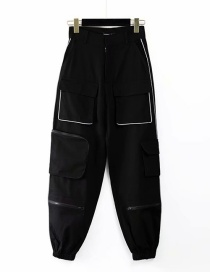 Fashion Black Reflective Multi-pocket Beamed Overalls