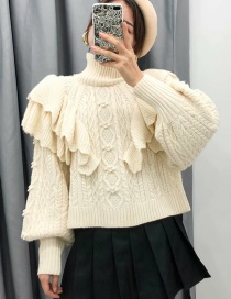 Fashion Beige Stacked Ruffled Eight-strand Knitted Sweater