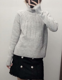 Fashion Gray Turtleneck Turtleneck Knitted Sweater