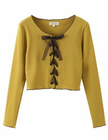 Fashion Mustard Green Bow Tie Knitted Bottoming Shirt