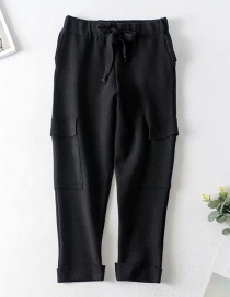Fashion Black High Waist Elastic Waist Drawstring Multi-pocket Cropped Cropped Pants