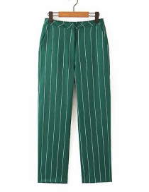 Fashion Green Striped Straight Pants