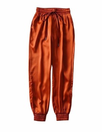 Fashion Orange Slip-on Lace-up Trousers