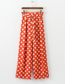 Fashion Orange Red Dot-print Wide-leg Pants