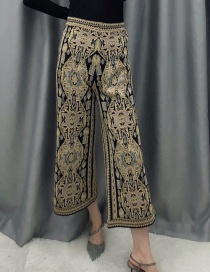 Fashion Black Jacquard Knitted Wide-leg Pants