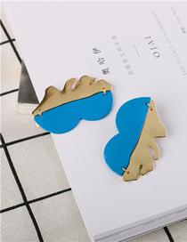 Fashion Blue Stitching Paint Earrings