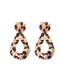 Fashion Red Diamond Drop Earrings