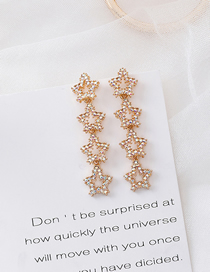 Fashion Gold 925 Silver Needle Rhinestone Pentagram Earrings