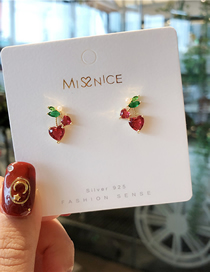 Fashion Red 925 Silver Needle Fruit Earrings