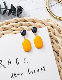 Fashion Yellow 925 Silver Needle Irregular Oval Earrings